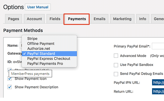 payment tab selection